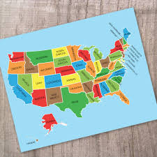 Us Maps With States High Quality Us Map With States Wall Art Print The Pixel Prince