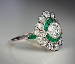 deco engagement ring original deco diamond emerald engagement ring antique
