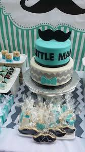 mustache baby shower boy baby shower blue gray white and black cake cookies and