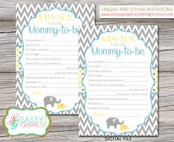 baby shower advice cards elephant boy baby shower card baby shower advice card advice