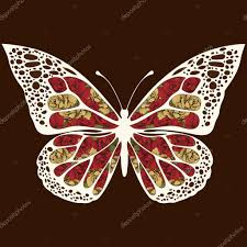 abstract butterfly with ornaments of roses flowers floral