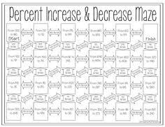 percent increase and decrease maze 7th grade math percents and