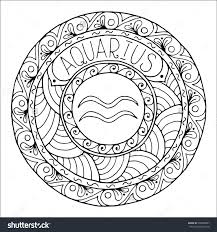 coloring page with pattern and zodiac sign gemini in zentangle