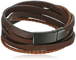 buckle leather wrap bracelet images Men 39 s black ion plated stainless steel and leather jpg