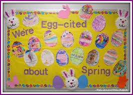 Easter Classroom Door Decorations by Easter Eggs On The Bulletin Boards Drseussprojects