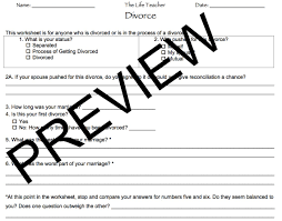 Grief Worksheets Divorce Worksheet