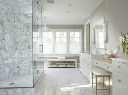 Open Shower Bathroom Design by Bathroom Double Sink Small Bench White Flowers White Vanity White