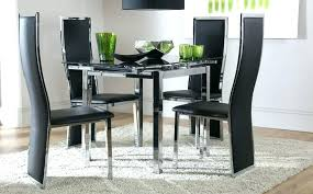 Black Glass Extending Dining Table 6 Chairs Black Extendable Dining Table Rabotanadomu Me