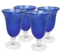 amazon com artland iris footed ice tea glasses cobalt blue set