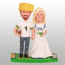 personalised oakland raiders football wedding cake toppers bride