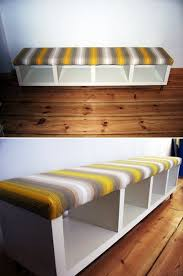 Diy Wooden Storage Bench by Transforming Ikea Furniture Wraps Ikea Bookcase And Fabrics