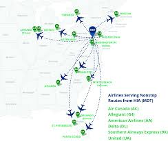 Green Line Chicago Map by Current Nonstop Destinations From Hia Harrisburg International