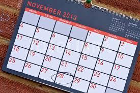 2013 calendar with thanksgiving circled