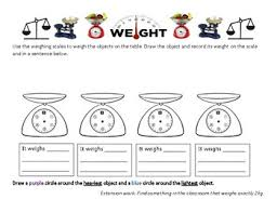 measuring and recording weight on a scale grade 1 or 2 worksheet