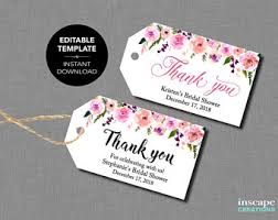 bridal shower favor tags editable bridal shower favor tags template floral rustic