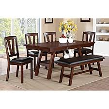 amazon com east west furniture cano6 oak w 6 piece dining table