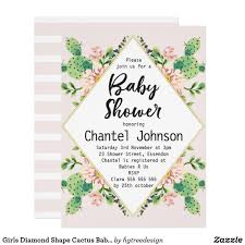 All White Baby Shower Invitations Girls Diamond Shape Cactus Baby Shower Invitation Shower