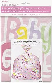 jumbo plastic pink polka dot baby shower gift bag