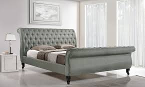 Upholstered Sleigh Bed Upholstered Tufted Sleigh Bed Groupon Goods