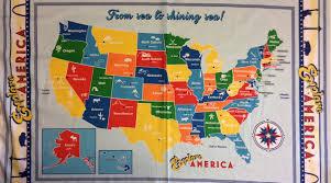 Map Fabric Rk115 Pnl81 Explore America 50 States Capitals Usa Map Travel