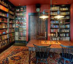 image result for black bookshelf with red walls reading and