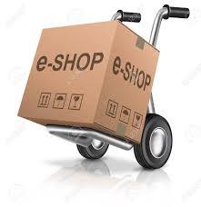 box cart web e shop icon online internet shopping cart concept cardboard
