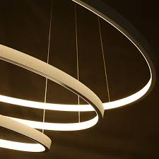 Circle Chandelier Glod Black White Color Modern Chandeliers Circle Rings Led