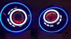 jeep wrangler blue headlights jeep wrangler hid bi xenon projector headlights halos