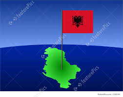 Map Of Albania Map Of Albania With Flag Illustration