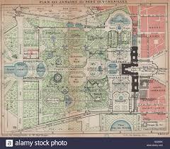 parc de versailles vintage map plan jardins park gardens stock