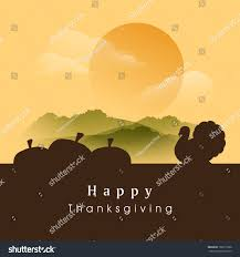 happy thanksgiving day evening background silhouette stock vector