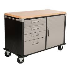 Four Drawer Wood File Cabinet by Seville Hd Rolling Workbench Wood Top Four Drawer One Cabinet