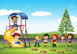 children in the park illustration royalty free cliparts