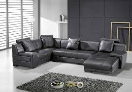 Grey Leather Sectional Sofa Furniture Cool T957 U2013 Modern Black Leather Sectional Sofa
