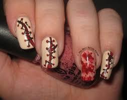 the nail polish panda bloody stitches halloween nail art