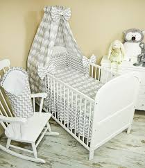 5 piece baby bed linen set with cot bumper bed sheets and canopy