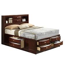 Storage Beds Queen Size With Drawers Global Furniture Usa Linda Queen Size Merlot Storage Bed Walmart Com