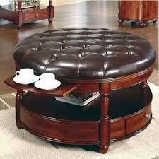 Large Tufted Leather Ottoman Leather Ottoman With Shelf Intuitivewellness Co