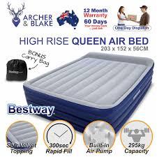 high rise queen inflatable air bed built in pump blow up mattress