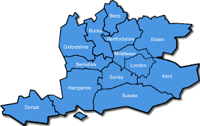 south east map counties map