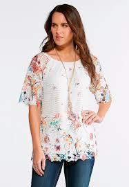 crochet blouses floral print crochet top shirts blouses cato fashions