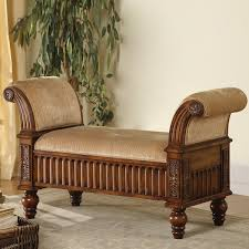 bedroom bench with arms traditional bench with tan fabric