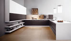 cute small u shaped kitchen design with wooden cabinet and black