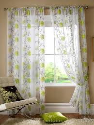 Cream Embroidered Curtains Sasha Lime Green Floral Slot Top Voile Embroidered Curtain Panels