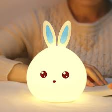 silicone cute bunny rabbit baby nursery led night light 7 color