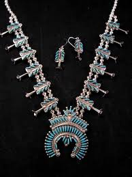 turquoise necklace earring set images Zuni turquoise needlepoint silver squash blossom necklace earring jpg