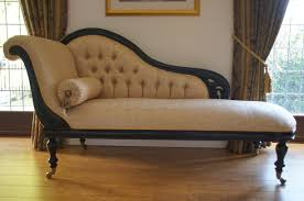 Chaise Lounge Sofas by Vintage White Leather Victorian Chaise Lounge Sofa With Black