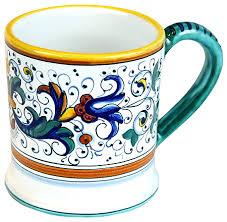 hand painted ceramic majolica coffee mug