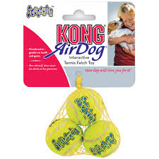 Small 2 by Air Kong Squeaker Tennis Balls 3 Pack Small