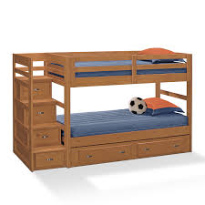 bedroom cool wood bunk beds with stairs and drawers plus blue